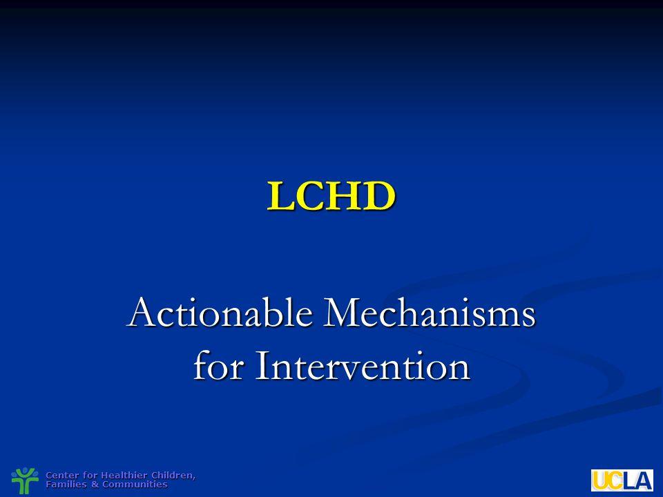 Center for Healthier Children, Families & Communities LCHD Actionable Mechanisms for Intervention
