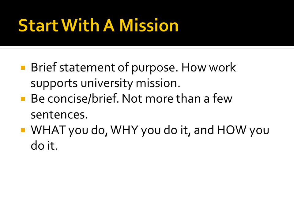 Brief statement of purpose. How work supports university mission. Be concise/brief. Not more than a few sentences. WHAT you do, WHY you do it, and HOW