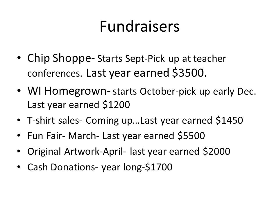 Fundraisers Chip Shoppe- Starts Sept-Pick up at teacher conferences.