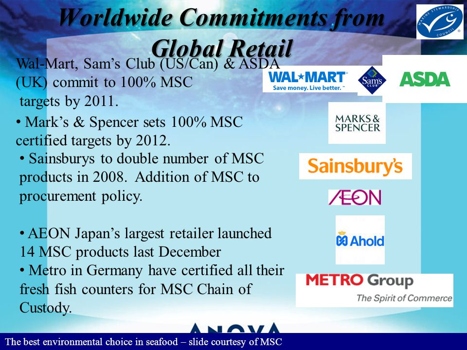 Worldwide Commitments from Global Retail The best environmental choice in seafood – slide courtesy of MSC Wal-Mart, Sams Club (US/Can) & ASDA (UK) commit to 100% MSC targets by 2011.