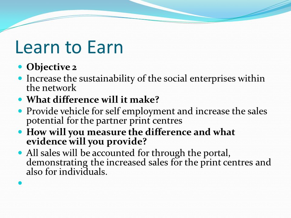 Learn to Earn Objective 2 Increase the sustainability of the social enterprises within the network What difference will it make.