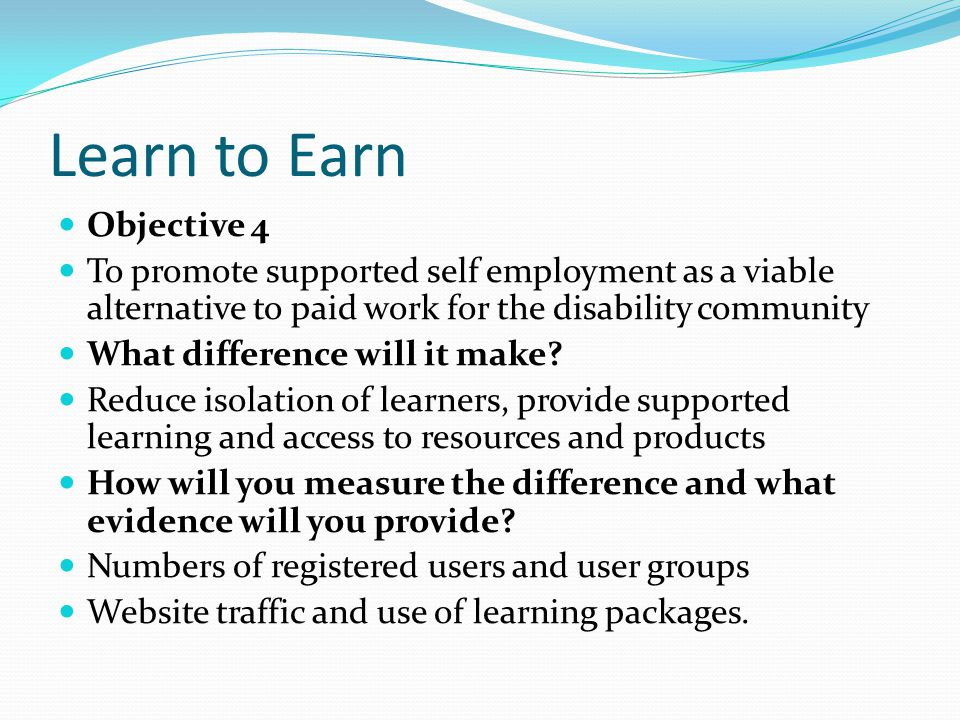 Learn to Earn Objective 4 To promote supported self employment as a viable alternative to paid work for the disability community What difference will it make.