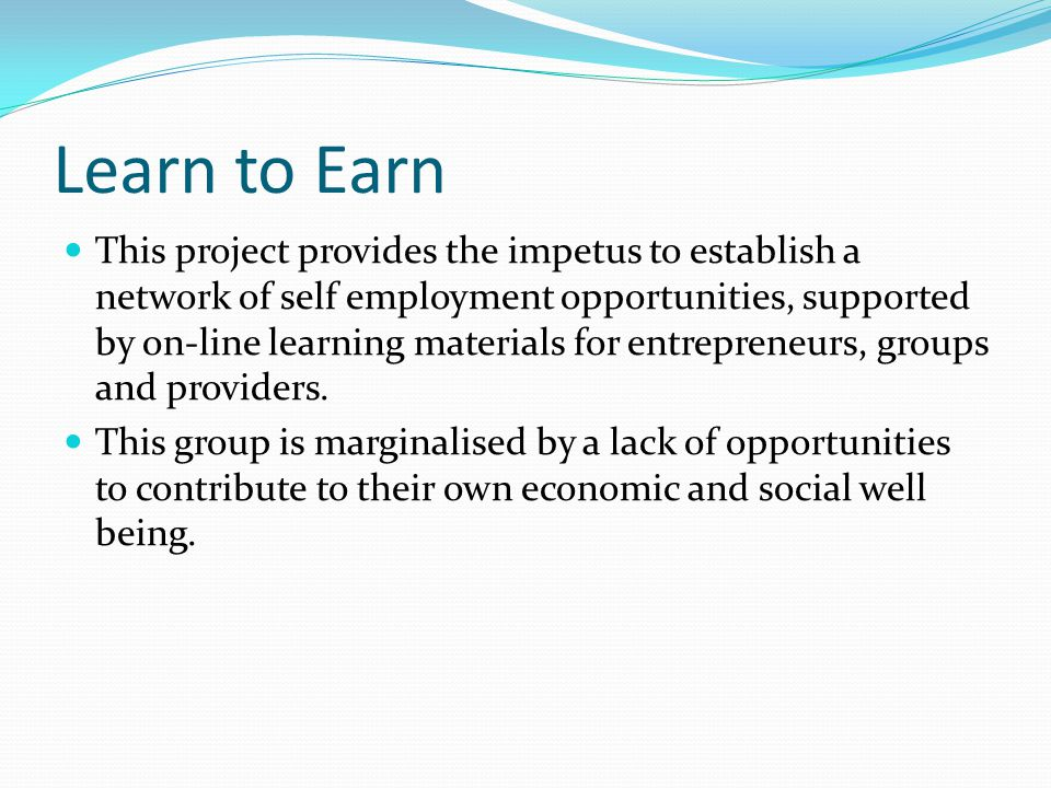 Learn to Earn This project provides the impetus to establish a network of self employment opportunities, supported by on-line learning materials for entrepreneurs, groups and providers.