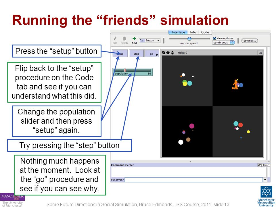Running the friends simulation Some Future Directions in Social Simulation, Bruce Edmonds, ISS Course, 2011, slide 13 Press the setup button Flip back to the setup procedure on the Code tab and see if you can understand what this did.