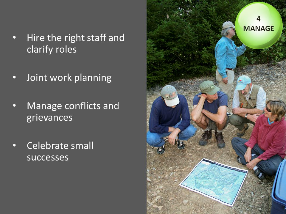 Hire the right staff and clarify roles Joint work planning Manage conflicts and grievances Celebrate small successes 4 MANAGE