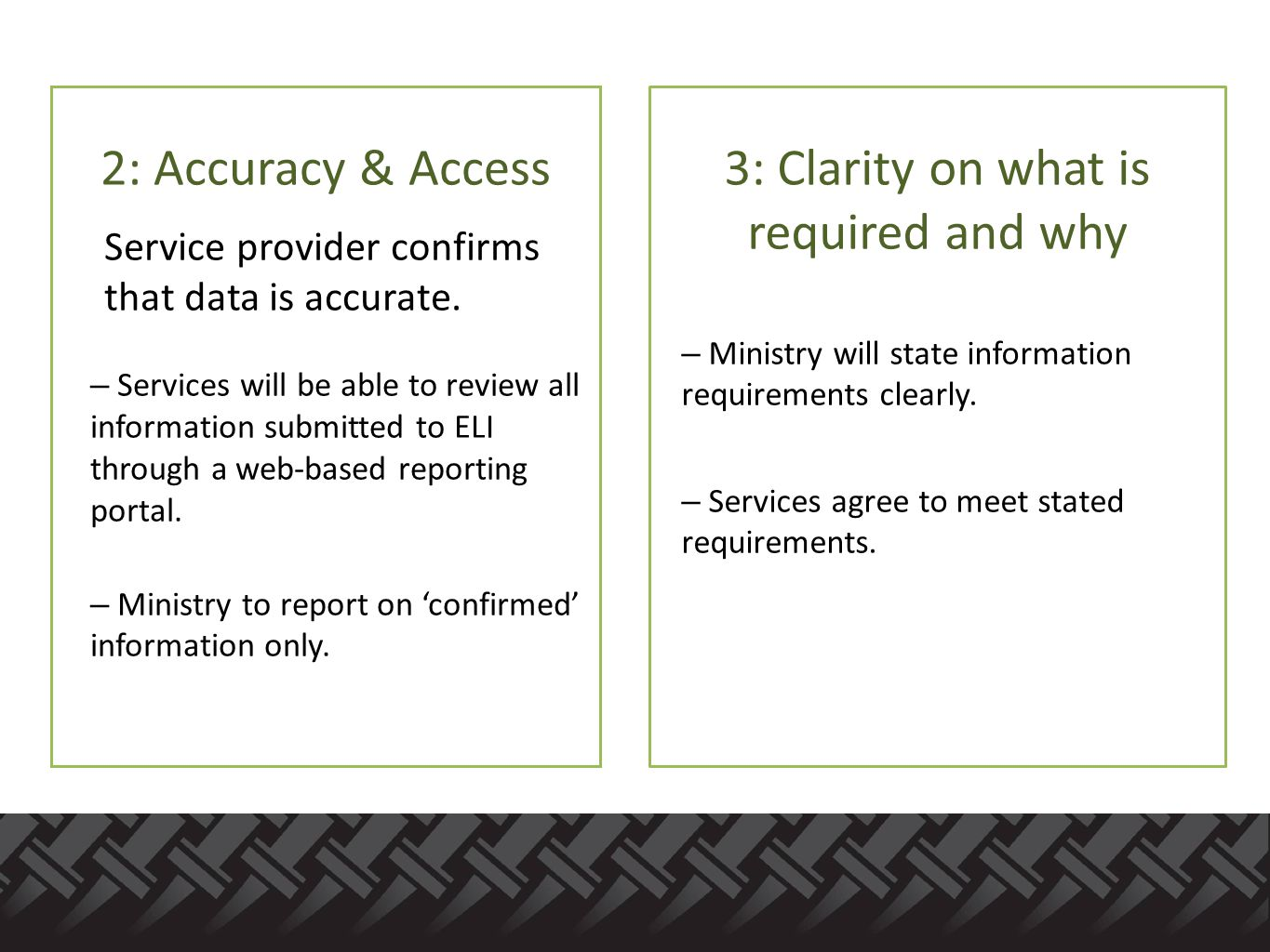 2: Accuracy & Access Service provider confirms that data is accurate.