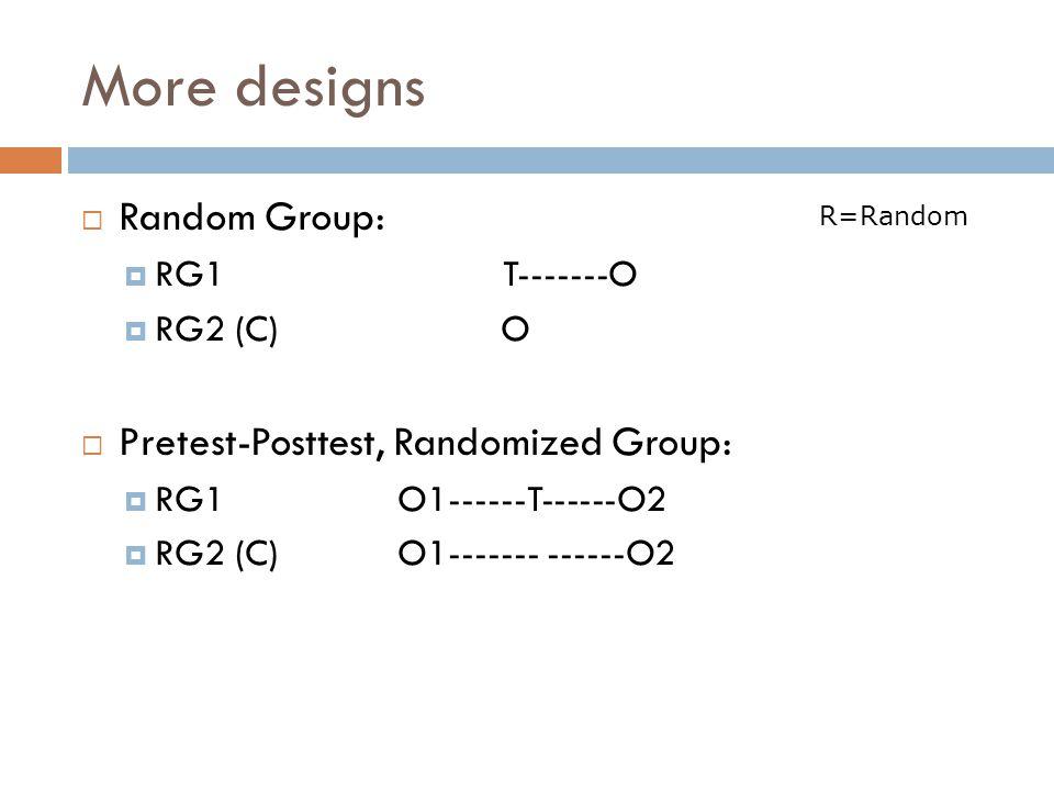 More designs Random Group: RG1T-------O RG2 (C) O Pretest-Posttest, Randomized Group: RG1O1------T------O2 RG2 (C) O1------- ------O2 R=Random