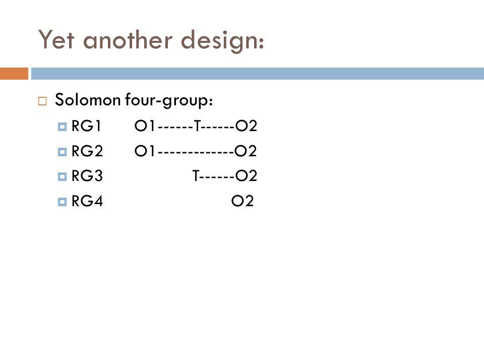 Yet another design: Solomon four-group: RG1O1------T------O2 RG2O1-------------O2 RG3 T------O2 RG4O2