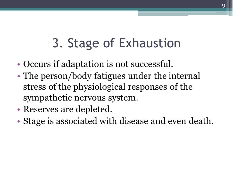 3. Stage of Exhaustion Occurs if adaptation is not successful.
