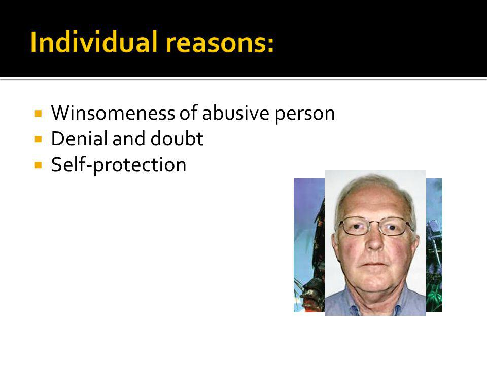 Winsomeness of abusive person Denial and doubt Self-protection