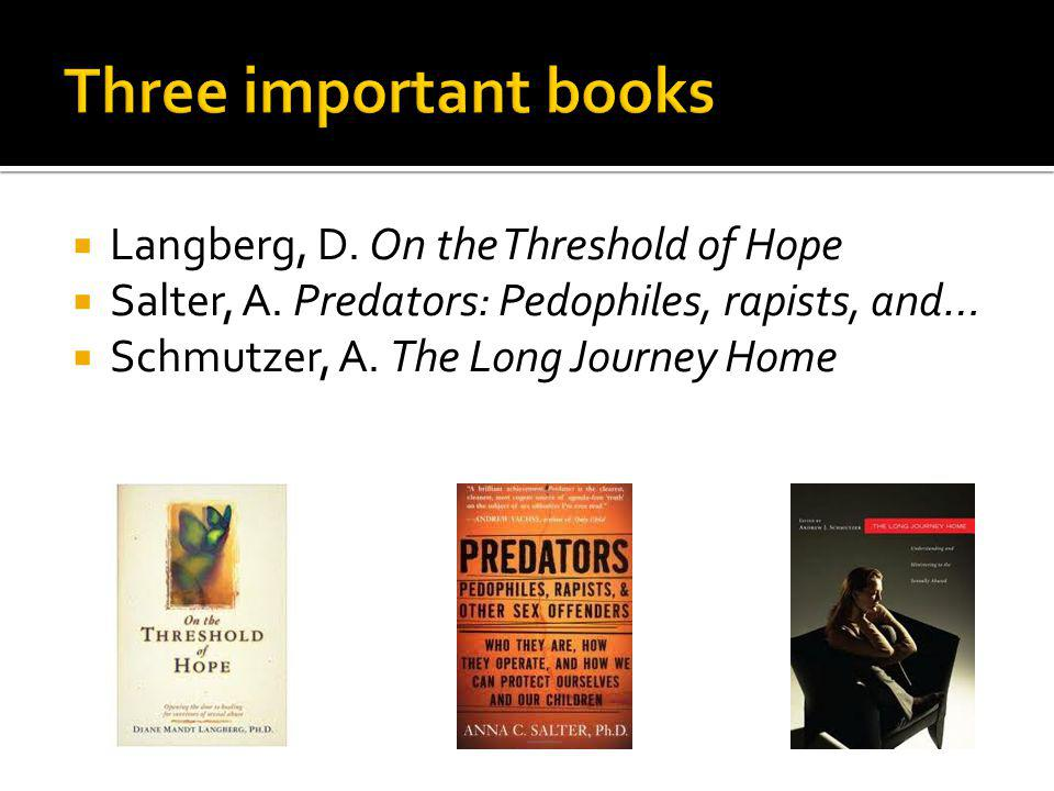Langberg, D. On the Threshold of Hope Salter, A. Predators: Pedophiles, rapists, and… Schmutzer, A. The Long Journey Home