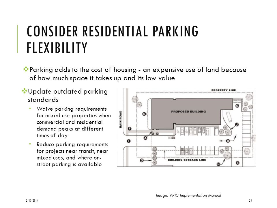 CONSIDER RESIDENTIAL PARKING FLEXIBILITY Update outdated parking standards Waive parking requirements for mixed use properties when commercial and res