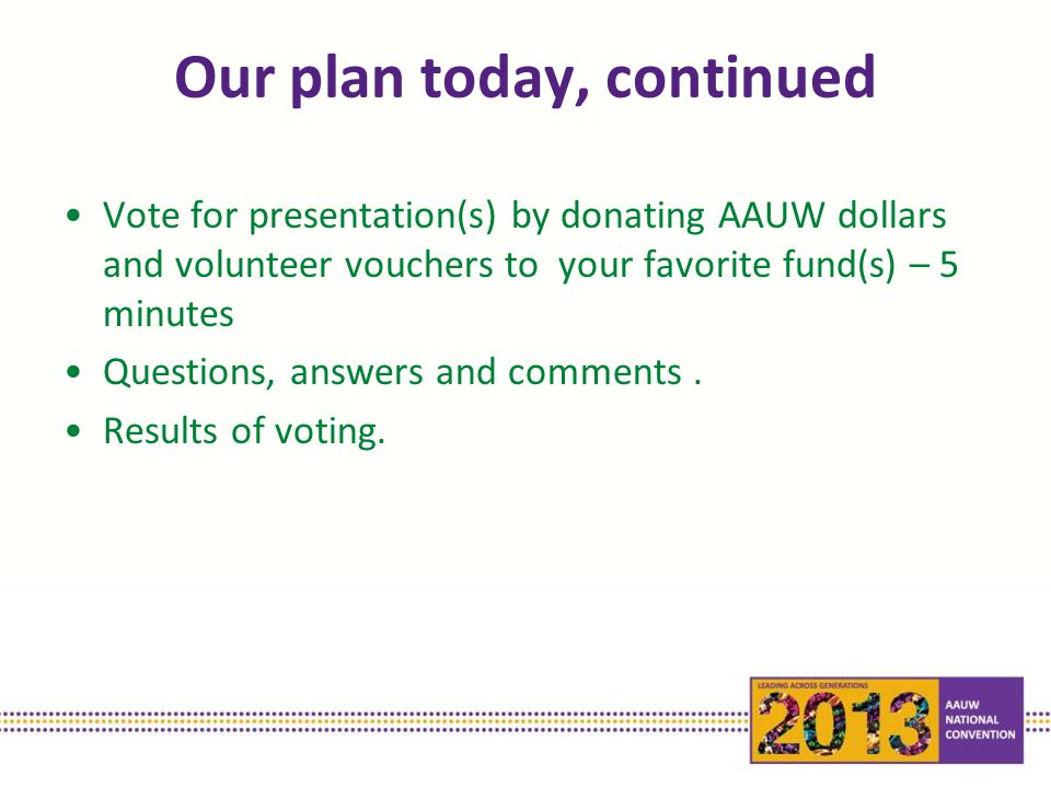 Our plan today, continued Vote for presentation(s) by donating AAUW dollars and volunteer vouchers to your favorite fund(s) – 5 minutes Questions, answers and comments.