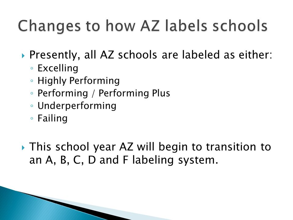 Presently, all AZ schools are labeled as either: Excelling Highly Performing Performing / Performing Plus Underperforming Failing This school year AZ