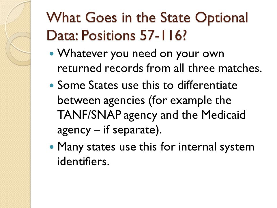 What Goes in the State Optional Data: Positions 57-116.