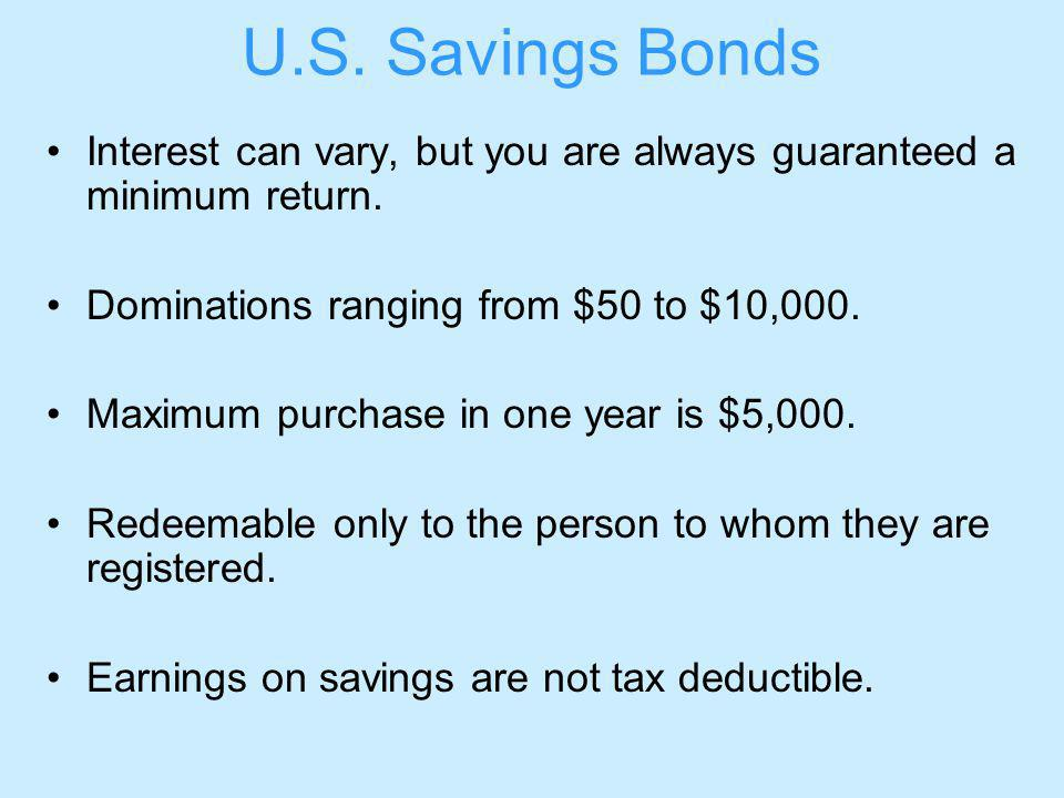 U.S. Savings Bonds Interest can vary, but you are always guaranteed a minimum return.