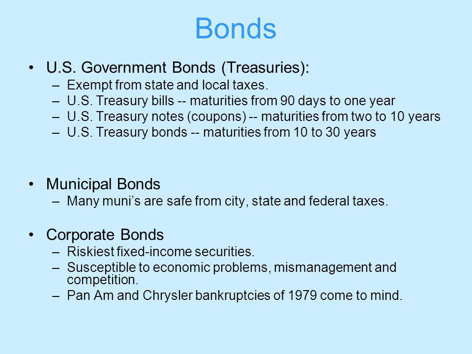 Bonds U.S. Government Bonds (Treasuries): –Exempt from state and local taxes.