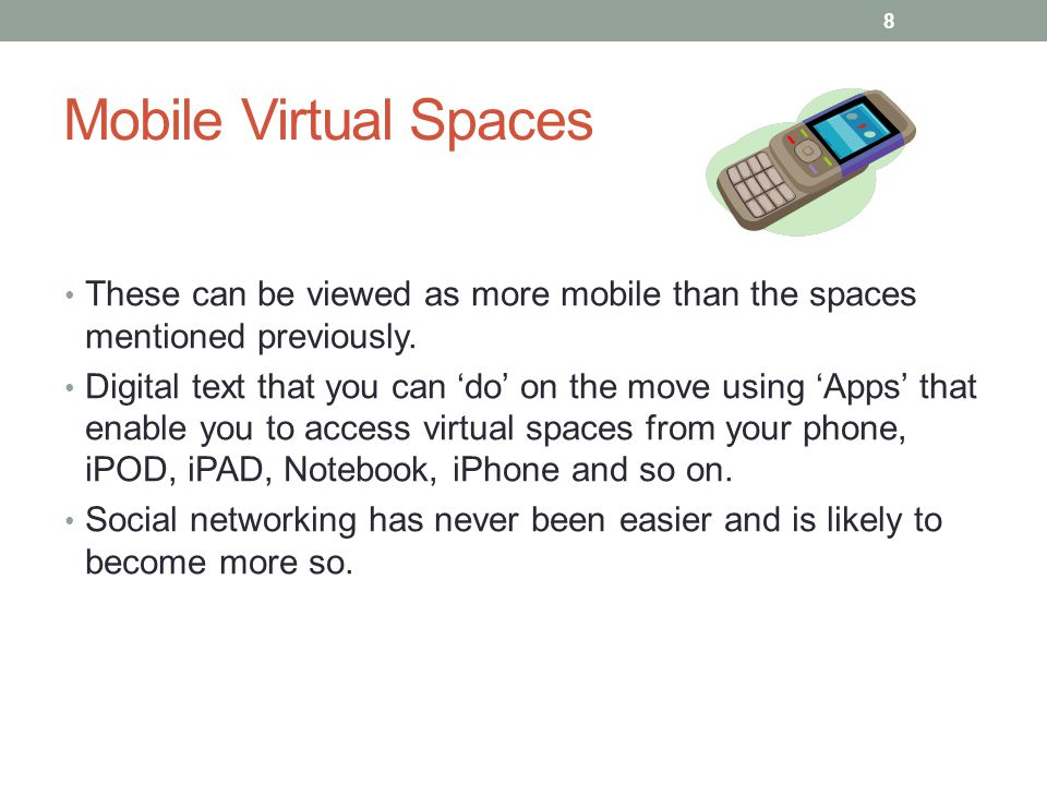 Mobile Virtual Spaces These can be viewed as more mobile than the spaces mentioned previously. Digital text that you can do on the move using Apps tha