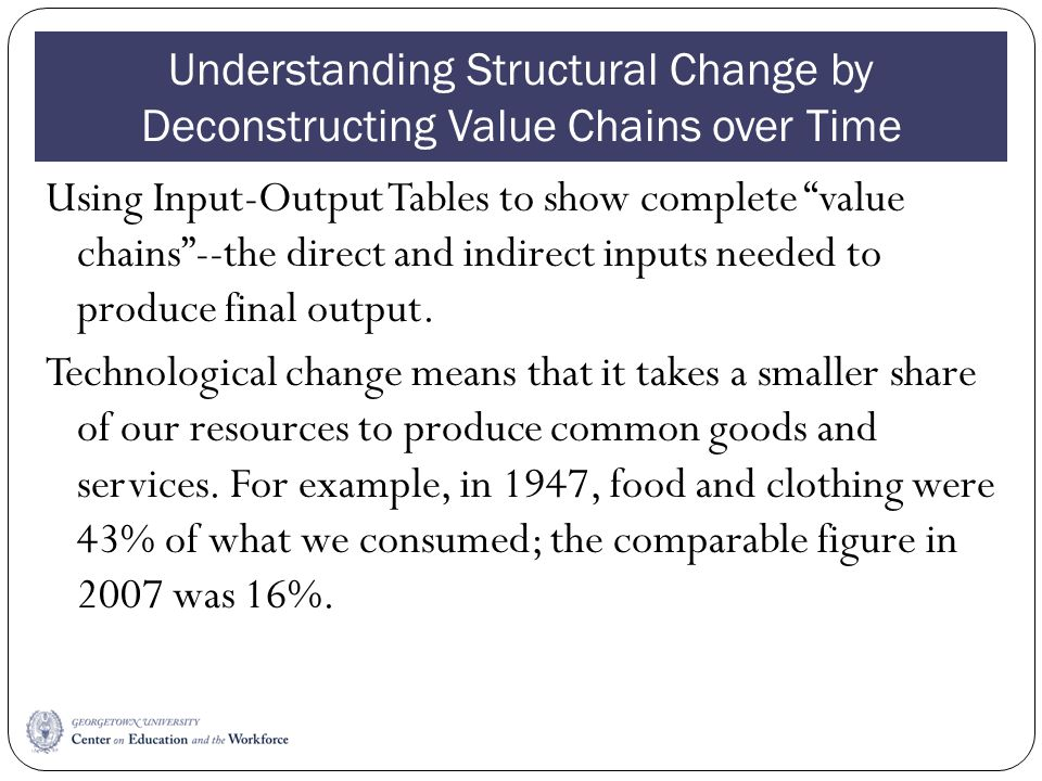 Understanding Structural Change by Deconstructing Value Chains over Time Using Input-Output Tables to show complete value chains--the direct and indir