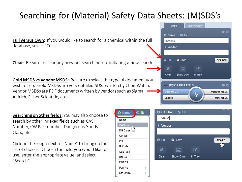 Understanding the Search Results: The following example is a search for Acetone made by Sigma-Aldrich US.