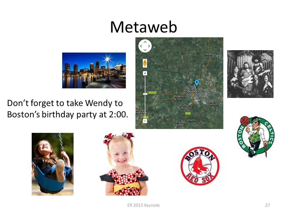 Metaweb ER 2013 Keynote27 Dont forget to take Wendy to Bostons birthday party at 2:00.