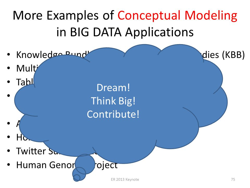 More Examples of Conceptual Modeling in BIG DATA Applications Knowledge Bundle Building for Research Studies (KBB) Multi-Lingual Query Processing (ML-OntoES) Table Understanding (TISP, Table Ontology) Automating Ontology Creation (TANGO) Automated Reading (OntoSoar) Homeland Security Twitter Suicide Study Human Genome Project ER 2013 Keynote75 Dream.
