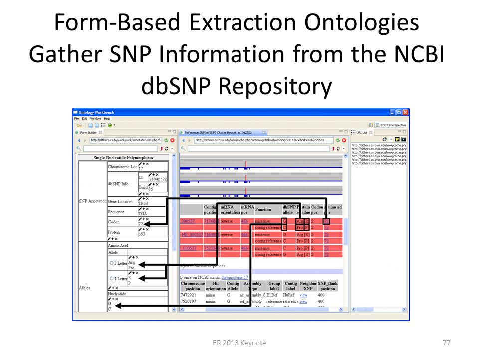 Form-Based Extraction Ontologies Gather SNP Information from the NCBI dbSNP Repository ER 2013 Keynote77