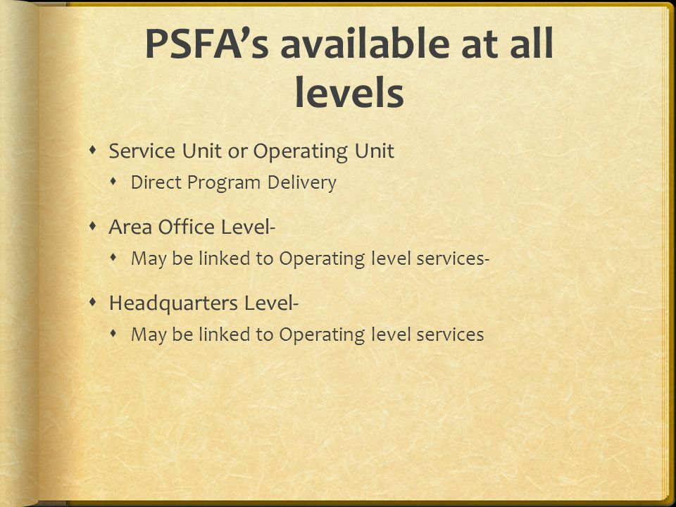 PSFAs available at all levels Service Unit or Operating Unit Direct Program Delivery Area Office Level- May be linked to Operating level services- Hea