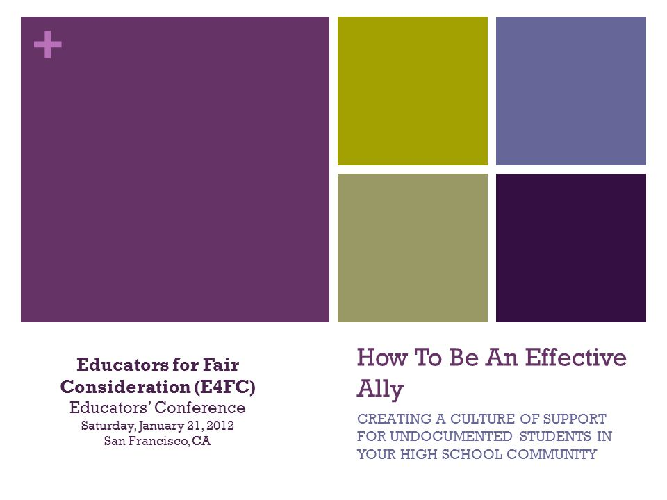 + How To Be An Effective Ally CREATING A CULTURE OF SUPPORT FOR UNDOCUMENTED STUDENTS IN YOUR HIGH SCHOOL COMMUNITY Educators for Fair Consideration (E4FC) Educators Conference Saturday, January 21, 2012 San Francisco, CA