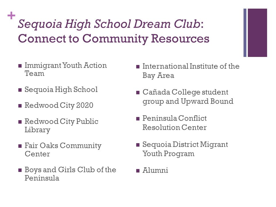 + Sequoia High School Dream Club: Connect to Community Resources Immigrant Youth Action Team Sequoia High School Redwood City 2020 Redwood City Public Library Fair Oaks Community Center Boys and Girls Club of the Peninsula International Institute of the Bay Area Cañada College student group and Upward Bound Peninsula Conflict Resolution Center Sequoia District Migrant Youth Program Alumni