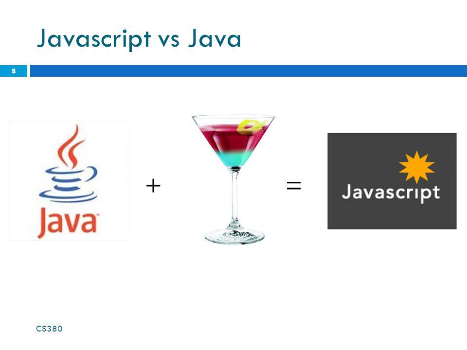 Javascript vs Java CS380 8 +=