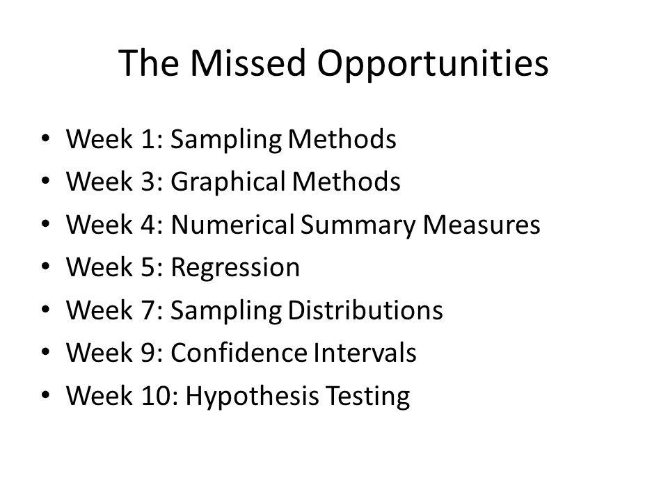 The Missed Opportunities Week 1: Sampling Methods Week 3: Graphical Methods Week 4: Numerical Summary Measures Week 5: Regression Week 7: Sampling Distributions Week 9: Confidence Intervals Week 10: Hypothesis Testing