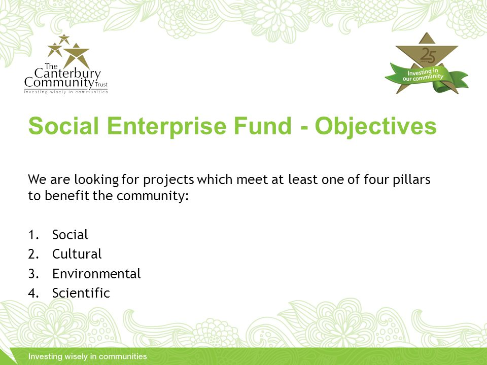 We are looking for projects which meet at least one of four pillars to benefit the community: 1.Social 2.Cultural 3.Environmental 4.Scientific Social Enterprise Fund - Objectives