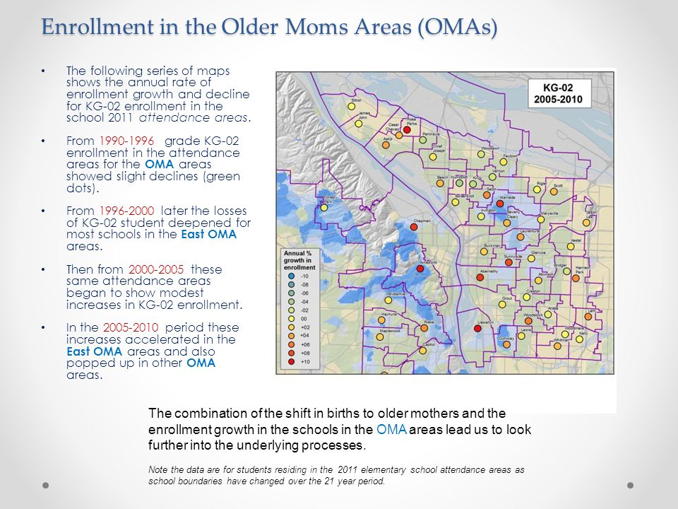 Enrollment in the Older Moms Areas (OMAs) The following series of maps shows the annual rate of enrollment growth and decline for KG-02 enrollment in the school 2011 attendance areas.