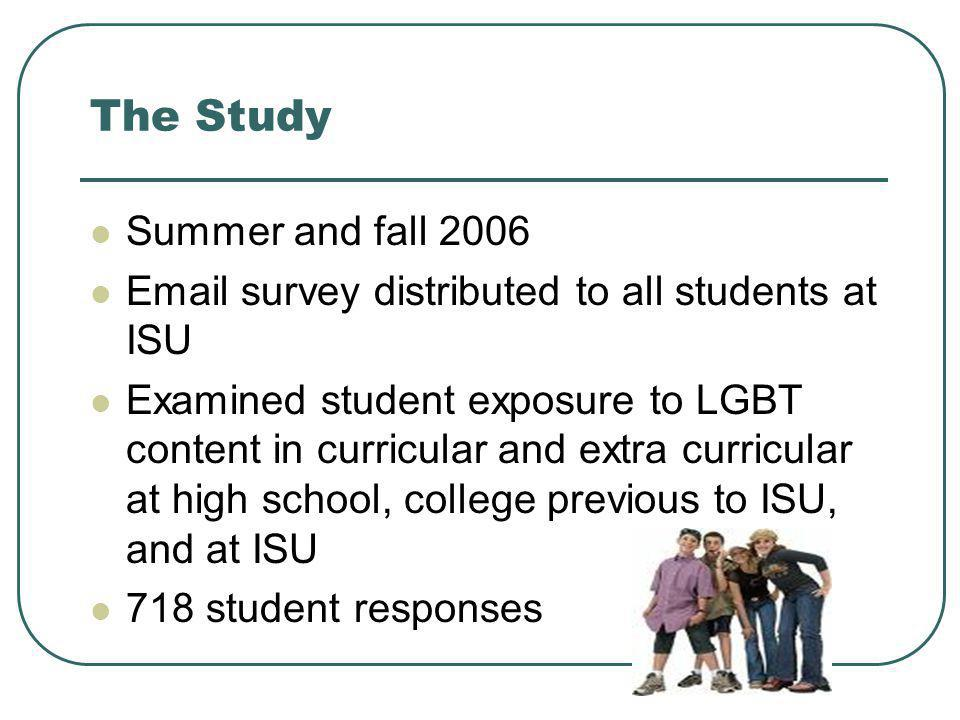 The Study Summer and fall 2006 Email survey distributed to all students at ISU Examined student exposure to LGBT content in curricular and extra curri