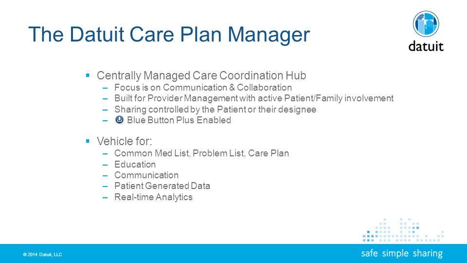 © 2014 Datuit, LLC The Datuit Care Plan Manager Centrally Managed Care Coordination Hub –Focus is on Communication & Collaboration –Built for Provider Management with active Patient/Family involvement –Sharing controlled by the Patient or their designee – Blue Button Plus Enabled Vehicle for: –Common Med List, Problem List, Care Plan –Education –Communication –Patient Generated Data –Real-time Analytics