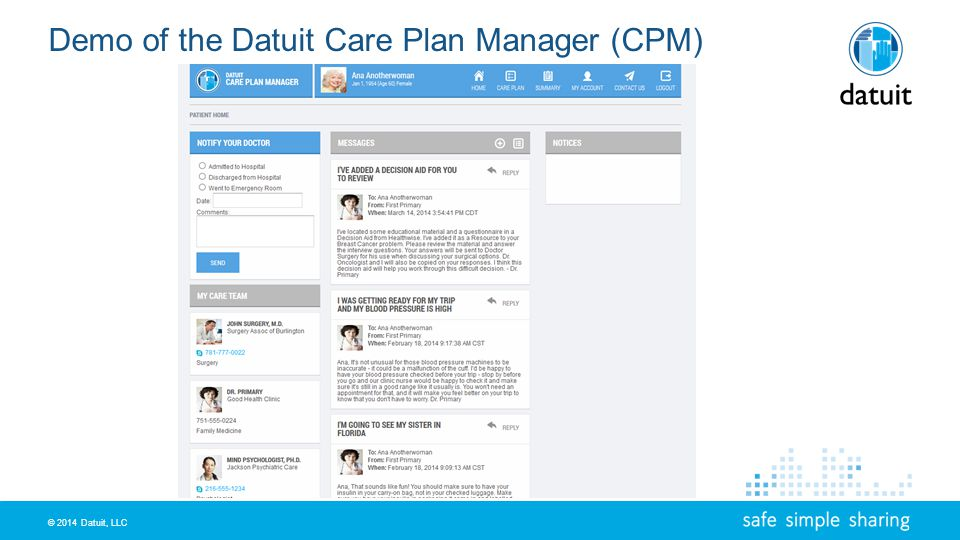 © 2014 Datuit, LLC Demo of the Datuit Care Plan Manager (CPM)