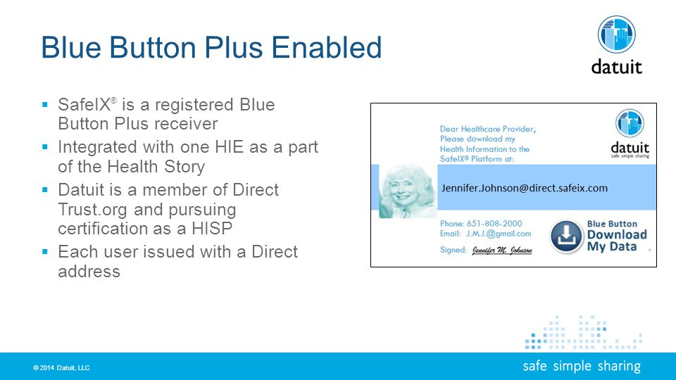 © 2014 Datuit, LLC Blue Button Plus Enabled SafeIX ® is a registered Blue Button Plus receiver Integrated with one HIE as a part of the Health Story Datuit is a member of Direct Trust.org and pursuing certification as a HISP Each user issued with a Direct address