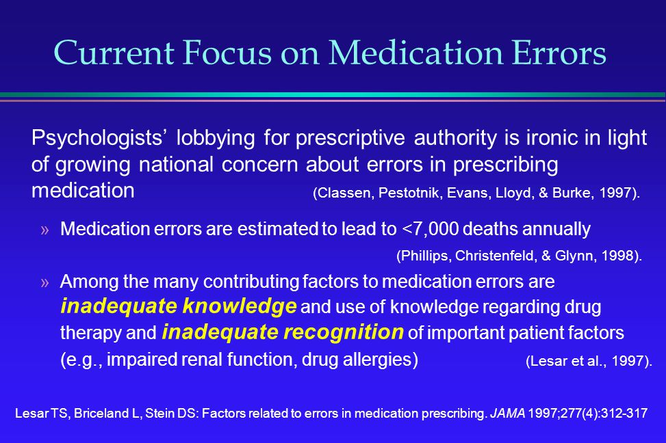Psychologists lobbying for prescriptive authority is ironic in light of growing national concern about errors in prescribing medication (Classen, Pest