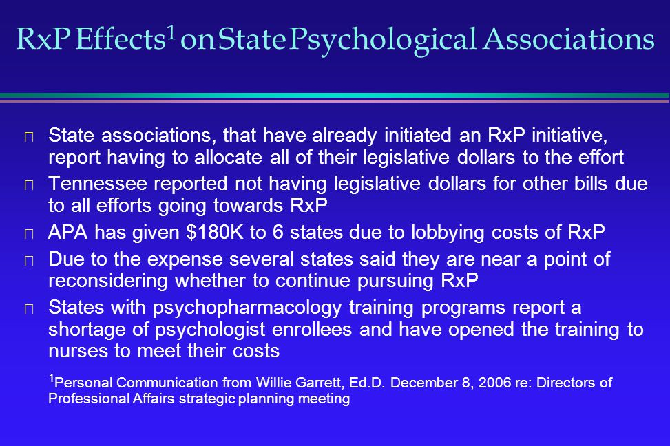 RxP Effects 1 on State Psychological Associations State associations, that have already initiated an RxP initiative, report having to allocate all of