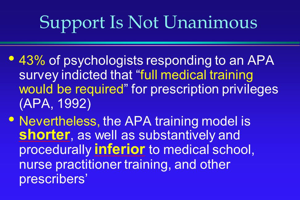 Support Is Not Unanimous 43% of psychologists responding to an APA survey indicted that full medical training would be required for prescription privi