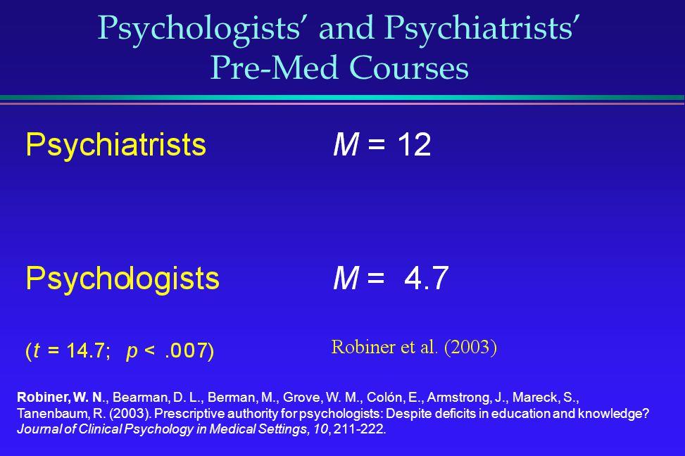 Psychologists and Psychiatrists Pre-Med Courses Robiner, W. N., Bearman, D. L., Berman, M., Grove, W. M., Colón, E., Armstrong, J., Mareck, S., Tanenb