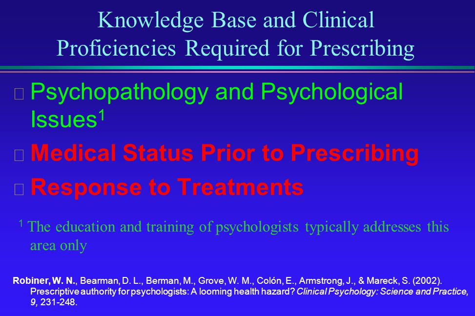 Knowledge Base and Clinical Proficiencies Required for Prescribing Psychopathology and Psychological Issues 1 Medical Status Prior to Prescribing Resp