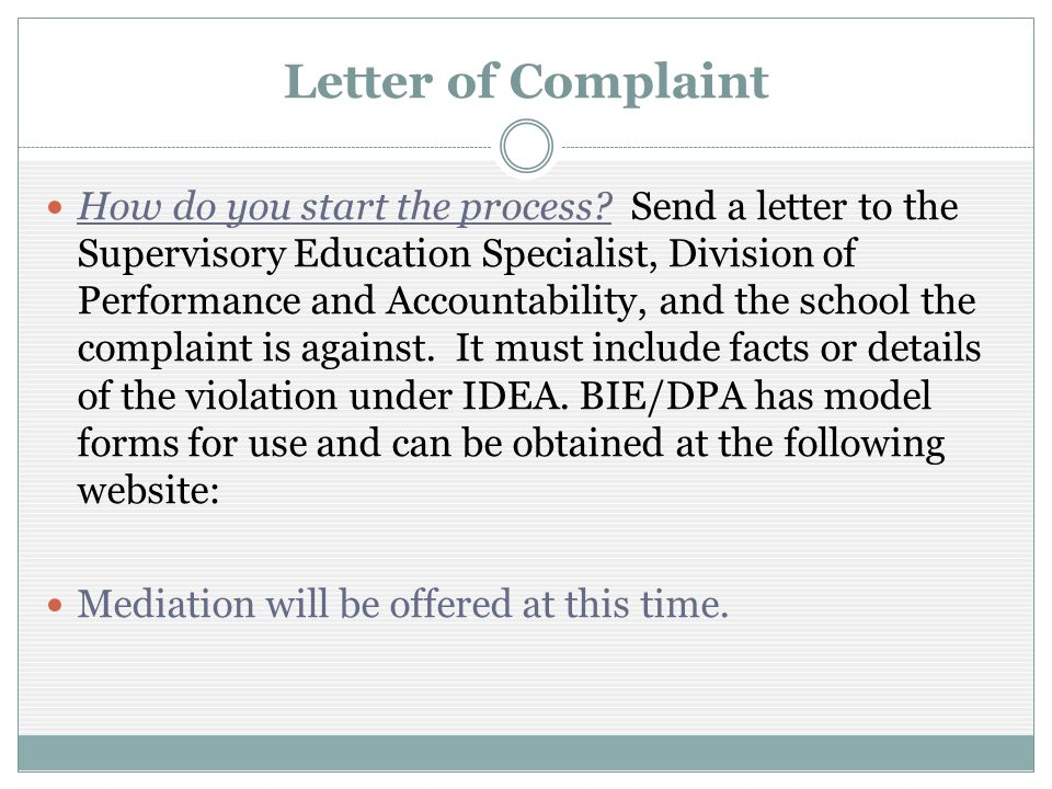 Letter of Complaint How do you start the process.