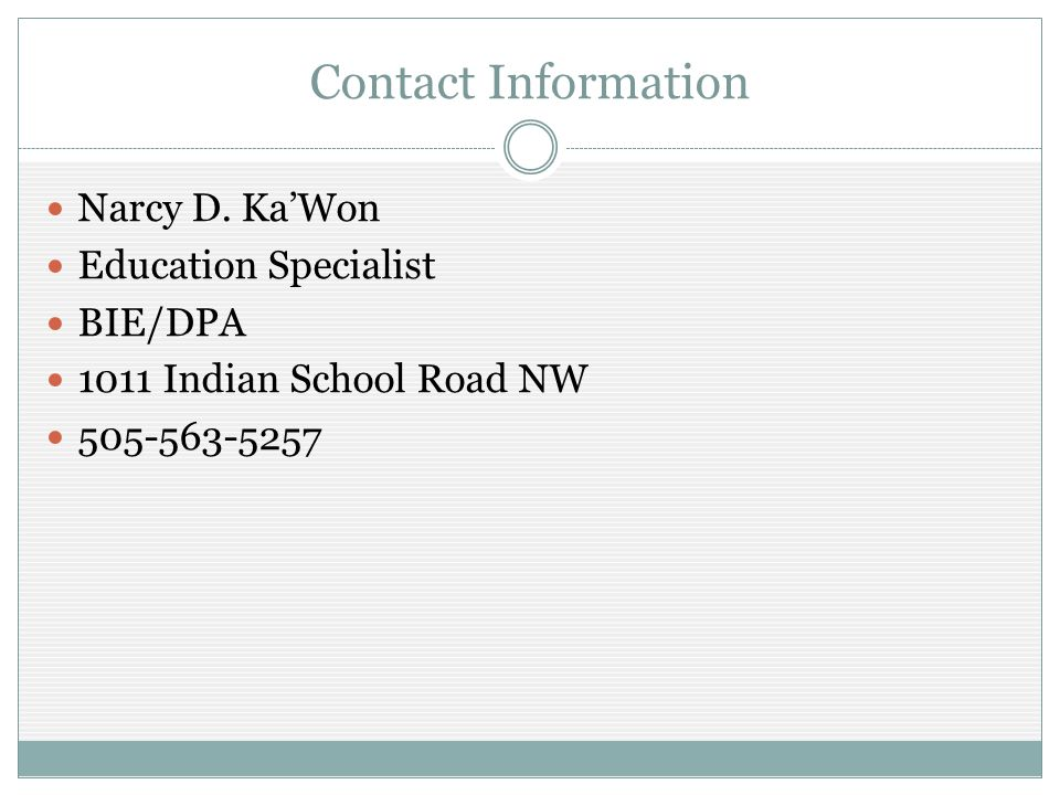 Contact Information Narcy D.