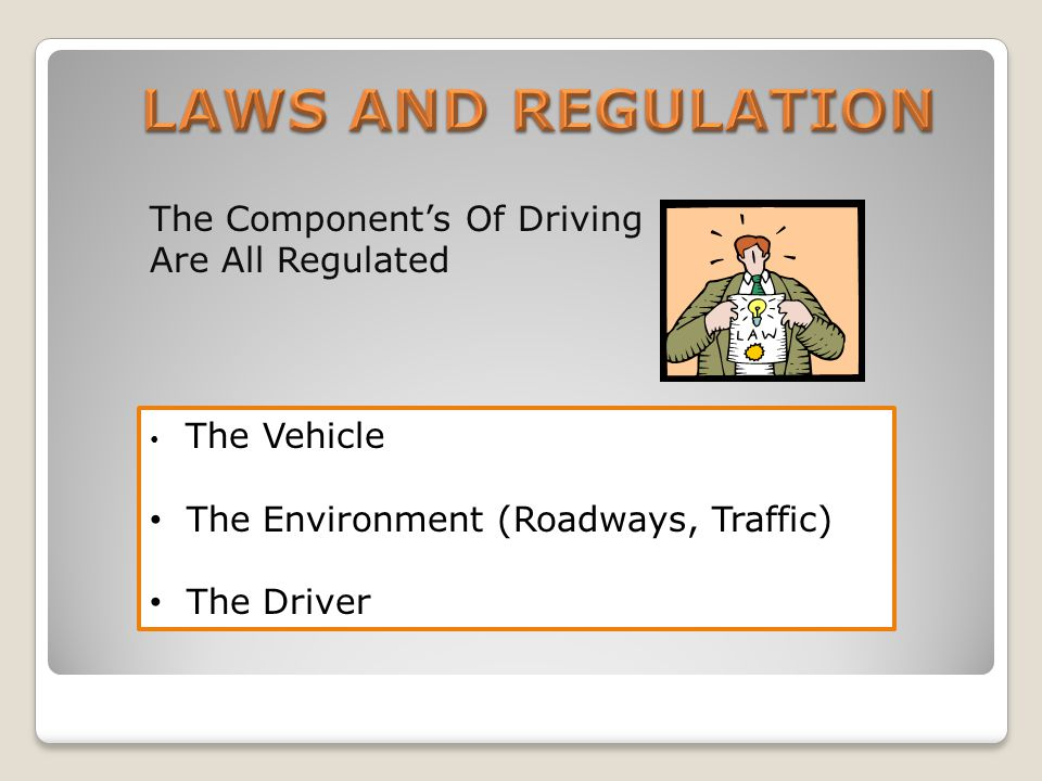 The Components Of Driving Are All Regulated The Vehicle The Environment (Roadways, Traffic) The Driver
