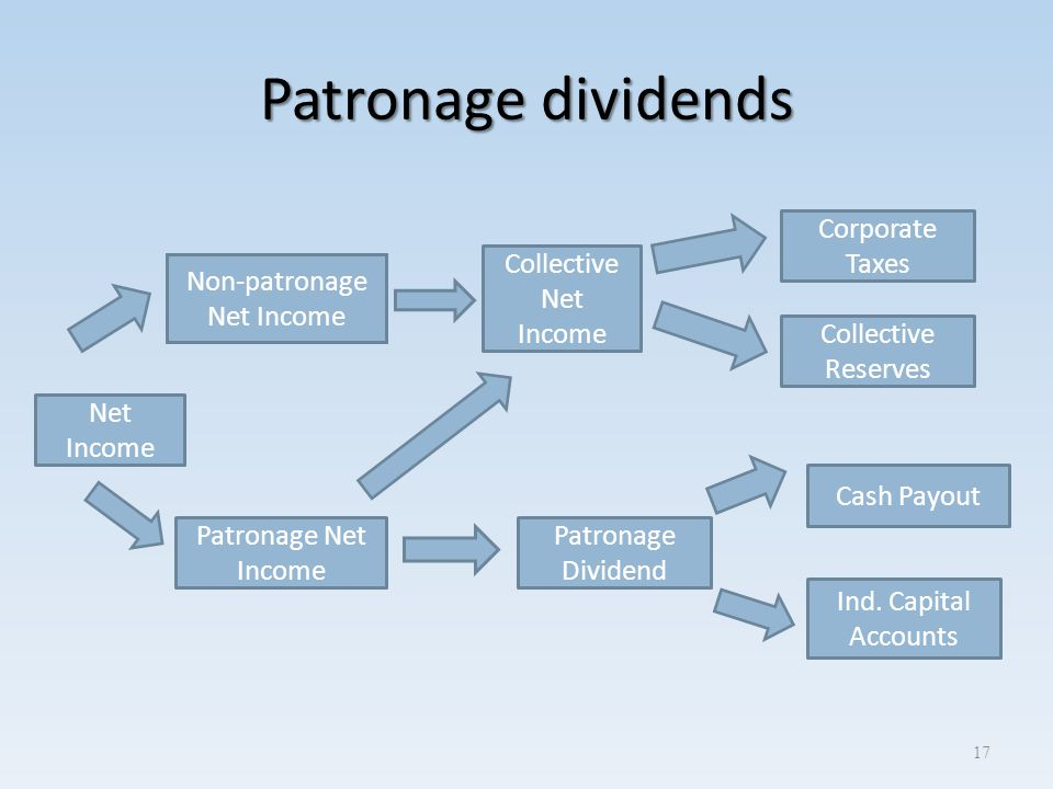 Patronage dividends 17 Net Income Collective Net Income Patronage Net Income Corporate Taxes Collective Reserves Patronage Dividend Cash Payout Ind. C