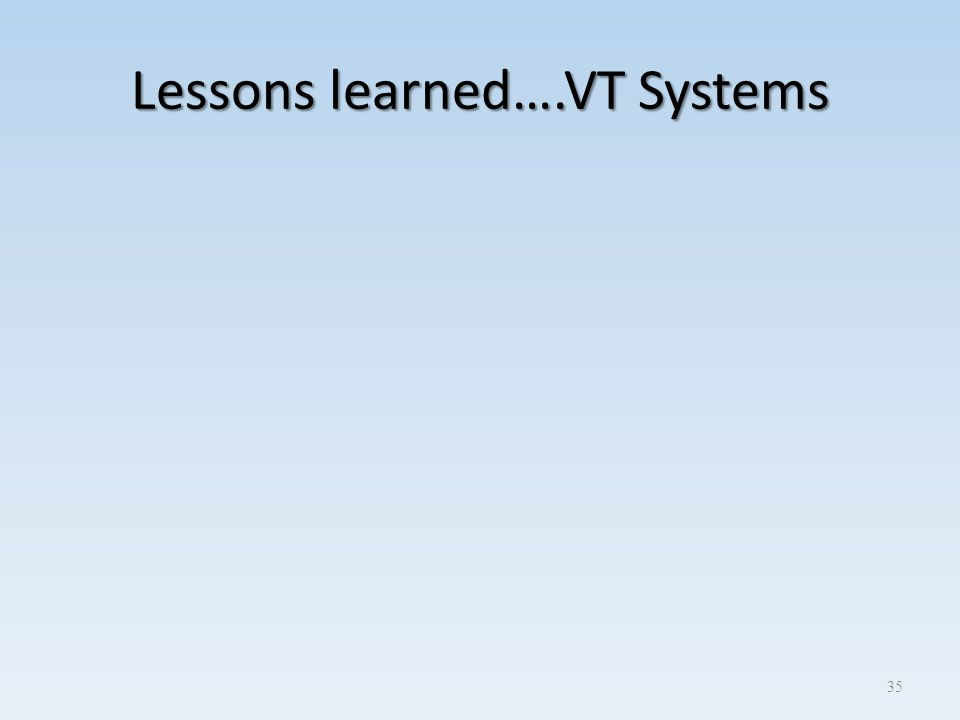 Lessons learned….VT Systems 35