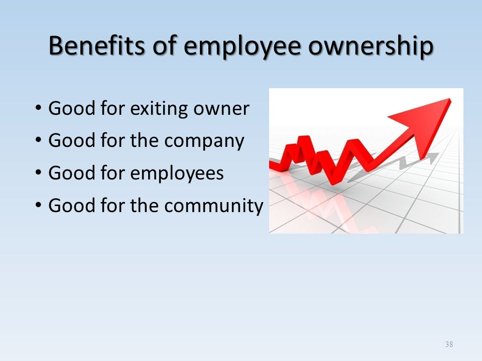 Benefits of employee ownership Good for exiting owner Good for the company Good for employees Good for the community 38