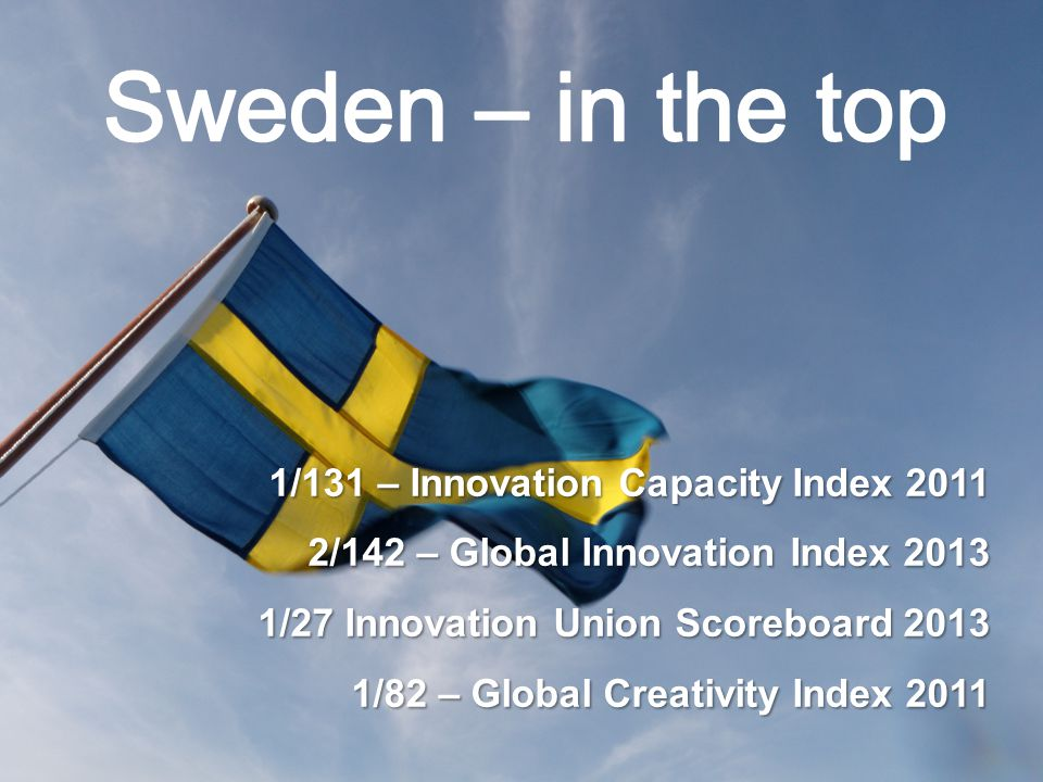 1/131 – Innovation Capacity Index 2011 2/142 – Global Innovation Index 2013 1/27 Innovation Union Scoreboard 2013 1/82 – Global Creativity Index 2011